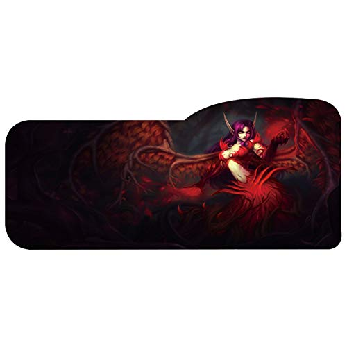 Gaming Mouse Pad Professional Curved Extended Size Large Computer Laptop Keyboard Desk Mat Waterproof Mousepad with Stitched Edges Anti Slip Rubber Base for School Office Home (LOL-Morgana)