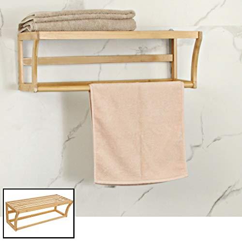 Bamboe wandplank en handdoekenrek voor in de badkamer - Hangend houten wandrek/handdoekenhouder - Badkamer rek voor handdoeken - Decopatent