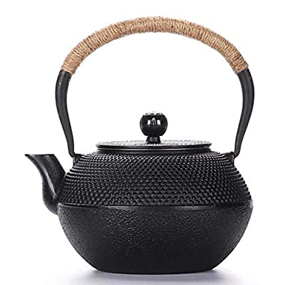 Sharemee - Black Japanese Cast Iron Teapot With Stainless Steel Infuser 600-1200ml/41oz