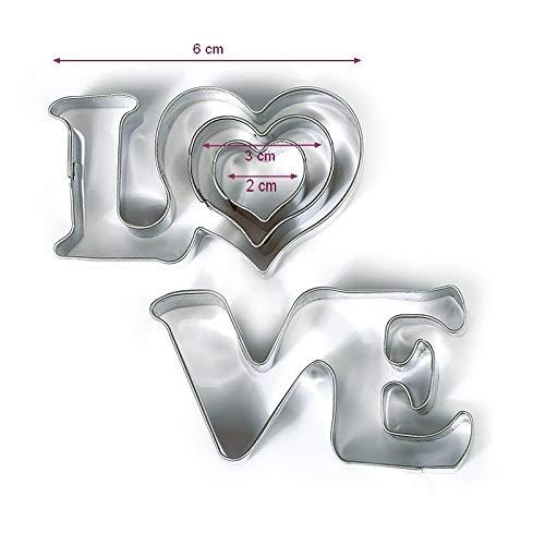 DTM-SOL Emportes-pièces Love et 2 Petits Coeurs en INOX Alimentaire, Diamètre 2,3,6 cm