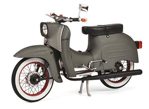 Schuco 450663700 Simson KR51/1 Customized Schwalbe, Modellfahrzeug, Maßstab 1:10, Limitierte Auflage, rote Felgen, matt grau