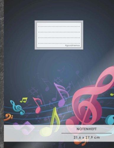 """Notenheft: DIN A4 • 48 Seiten, 24 Blatt, 12 Systeme, """"Kitschig"""" • Original #GoodMemos Schulheft • Mit Inhaltsverzeichnis und Seitenzahlen, Noten-Lineatur 14"""