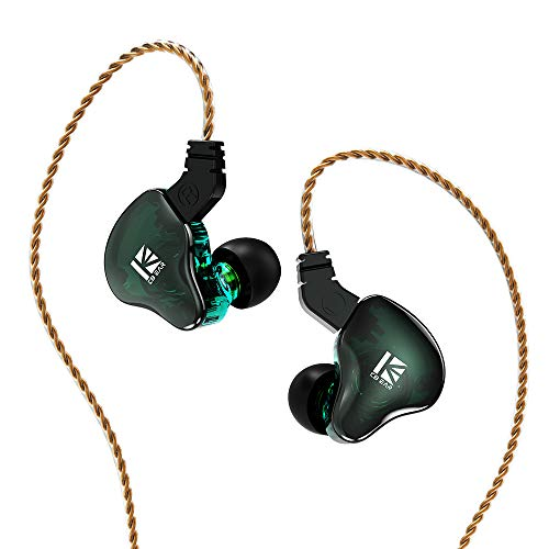 KBEAR KS2 IEM 1BA 1DD Stereo in Ear Headphone, Yinyoo HiFi Over Ear Earbud Headset Noise Cancelling Hybrid Earphone with Removable Cable for Running Walking (with mic, KS2 Green)