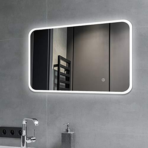 SGSpiegel Badspiegel mit Beleuchtung – 705039 Badezimmerspiegel mit LED, Senkrecht und Waagerecht zu montieren, 70x50cm, Weiß Lichtfarbe, Energieklasse A+