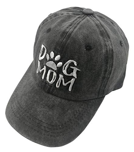 Splash Brothers Customized Unisex Dog Mom Vintage Jeans Adjustable Baseball Cap Cotton Denim Dad Hat (Embroidered Black, One Size)