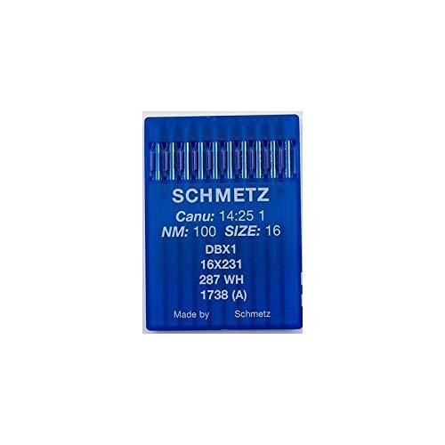 La Canilla ® - 10 Agujas para Máquina de Coser Industrial Schmetz DBx1 1738(A) 16x231 Grosor 100/16 Pistón Redondo