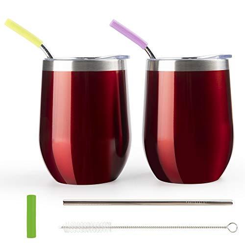 WELTRXE Weinbecher, Weingläser aus Edelstahl, vakuumisoliertes Weinglas mit Deckel, 2 × tragbarer Becher für Wein 350 ml rot, 3 × Strohlhalme und 1pcs Bürste erhalten, super für Familie Party Reise