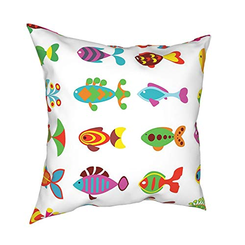 """Ocean Animal Decor Baby Fish Crew In Colors with Funny Lines and Circles Childish Fauna Print Multi 12""""X12"""" 16""""X16"""" 18""""X18"""" 20""""X20"""" Pillow- No Inserts Included"""