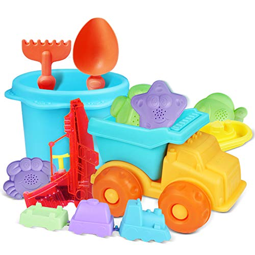 Mummed Beach Toys Set Sand Toys for Toddlers Durable and Soft Safety Plastic Sandbox Toys Sand Castle Building Kit for Kids and Toddlers Baby Beach Toys Water Gun Included 13pack