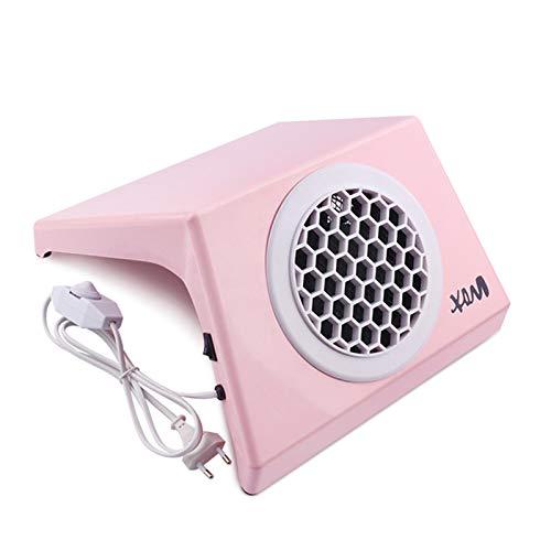 Aspiradora de uñas gran potencia con bolsas recolectoras, máquina extractora polvo 100W succión manicura, equipo herramientas recolección uñas salón profesional arte, rosa
