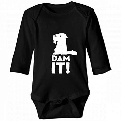 Dam It Beaver Unisex Baby Round Neck Long Sleeve Bodysuit, Fashion Casual Baby Climbing Suit 2T