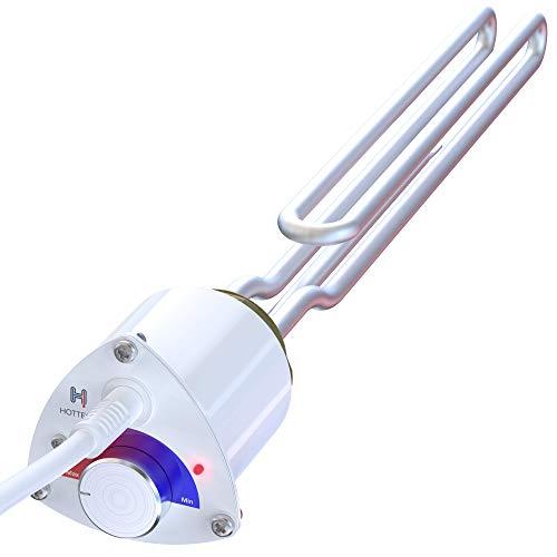 Hottech Tauchsieder Heizstab Elektro für Heizkessel Boiler – Heizpatrone mit Uni-Schuko-Stecker und Temperaturregler Wasser Thermostat Wärmetauscher, Weiß, 230 V, 3000 W, 6/4