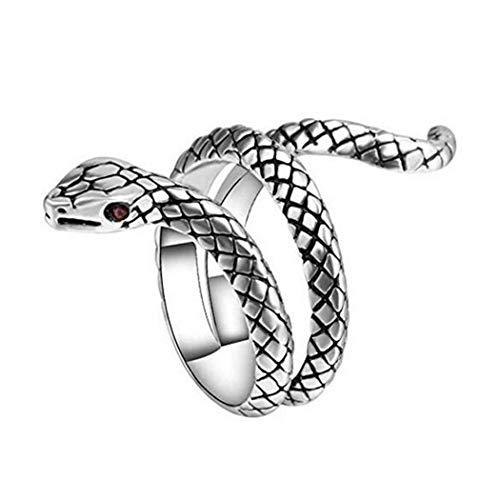 Aukmla Anillo vintage de serpiente de plata gótica punk anillo retro ajustable anillo abierto animal joyería para mujeres y hombres