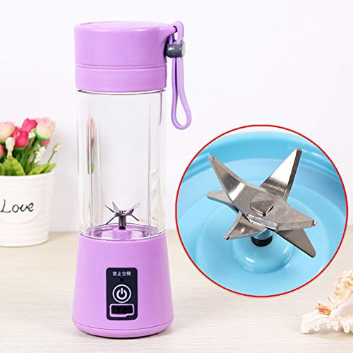 Alician Home Kitchen Bathroom Supplies Portable 6 Blades USB Charging Eletric Fruit Juicer Blender Purple 380ML