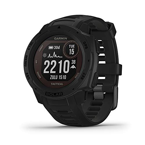 Garmin Instinct Solar Tactical, Solar-Powered Rugged Outdoor Smartwatch with Tactical Features, Built-in Sports Apps and Health Monitoring, Black
