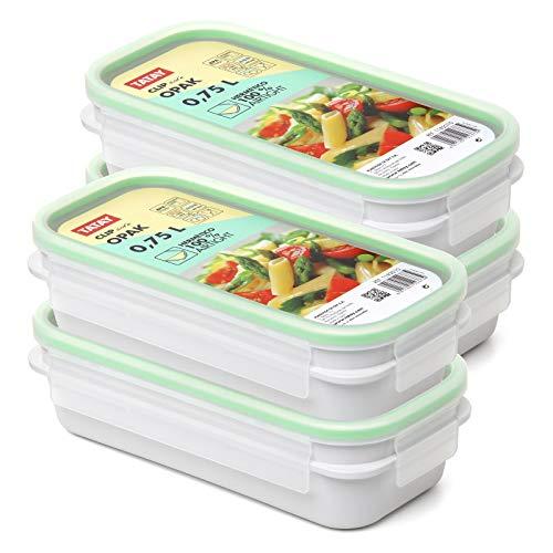 PracticFood Tatay Urban Food - Recambios 4 Tapers Herméticos OPAK Rectangulares con Junta de Silicona, Tamaño 4 x 0.75L