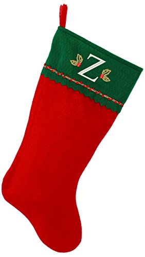 Monogrammed Me Embroidered Initial Christmas Stocking, Green and Red Felt, Initial Z