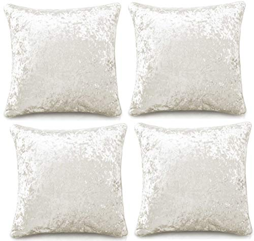 Intimates 4 Piece Set Plain Crushed Velvet Cushion Cover Decorative Pillowcases for Sofa couch, Bedroom accessories, 43cm x 43cm (17