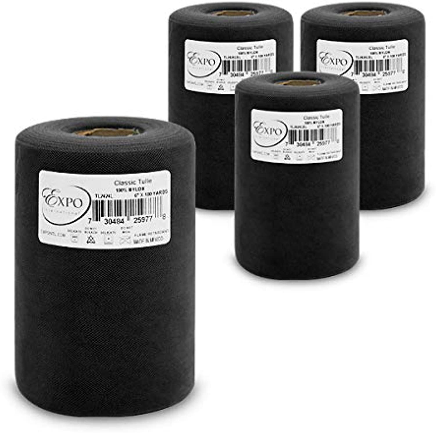 Expo International TL2424BK4 Classic 6  Tulle Spool (4 Pack), 100 yd, Black