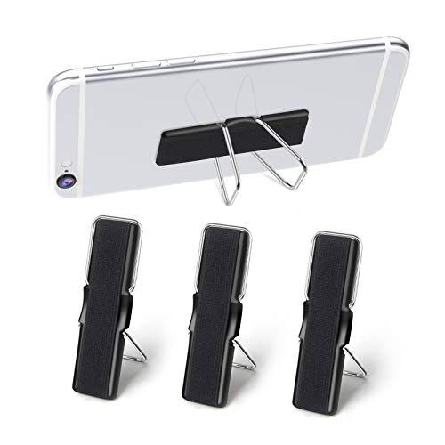 SHANSHUI 3er Handy Fingerhalter, Handyhalter Selbstklebende zur Einhandbedienung Griff Halter Fingerhalterung mit Standfunktion (Schwarz)