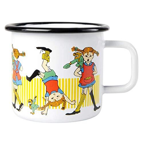 Pippi Langstrumpf Tasse Gelb, 370ml, Emaille, Becher, Pippi Tasse für Kinder und Erwachsene