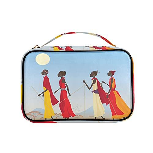 Masai - Organizador de joyas para mujer, de piel sintética, para collares, pendientes, anillos, pulsera