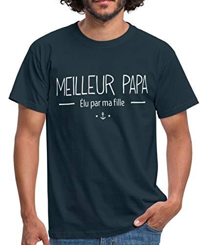 Meilleur Papa Élu par Ma Fille T-Shirt Homme, L, Marine