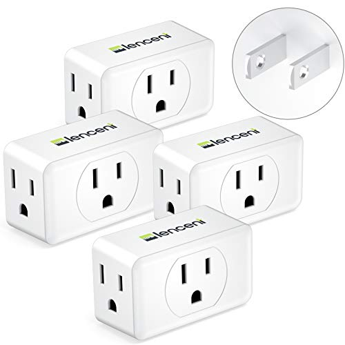 3 Prong to 2 Prong Adapter, LENCENT Plug Extender, Wall Plug Splitter with 3 AC Outlets, Travel Power Adaptor for US to Japan Japanese Philippines-Type A, Cruise Ship Approved, 4 Pack