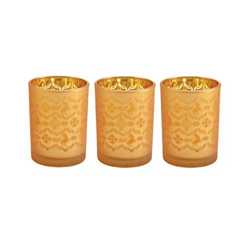Bombay 3 by 4 Inch Gold Pattern Votive Candle Holder, 5159794