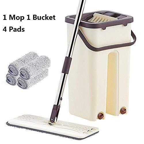 Flat Squeeze Mop en emmer hand-free wringing vloerreiniging mop nat of droog gebruik Magic Automatic Spin zelfreinigende Lazy Mop