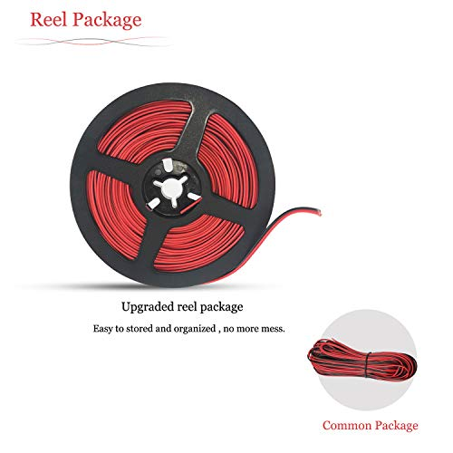 65.6ft/20M Electric Wire 22 Gauge, AWSOM Extension Wire Red Black 2 Wire Stranded Tinned Copper for 3528 LED Strip Lights, 12V DC Wire, Speaker, Doorbell Wire …