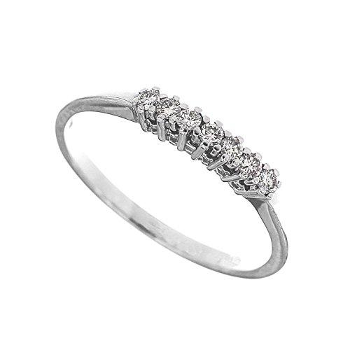 anello veretta riviera in oro bianco 18 kt diamanti taglio brillante complessivi carati 0,13 colore g taglio excellent misura 14