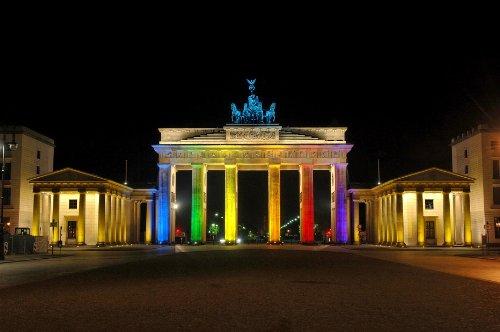 Berlin Postkarte mit Wackelbild BRANDENBURGER TOR / FESTIVAL OF LIGHTS