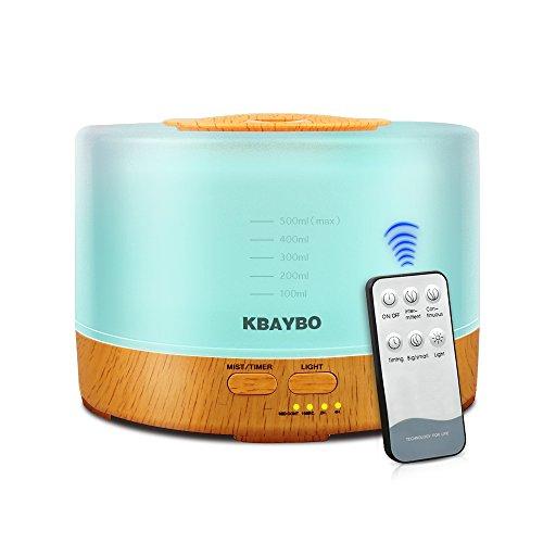 KBAYBO 500ml Umidificatore Cool Mist diffusore olio essenziale ad ultrasuoni Aroma con 4 Impostazioni timer 7 LED