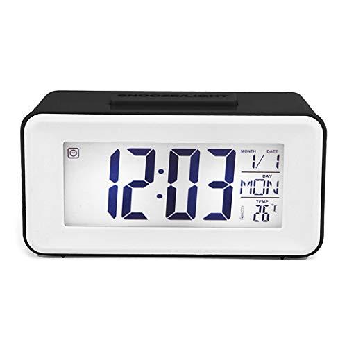 WuLi77 Digitaler LED-Wecker für Studenten, Uhren mit Woche, Schlummerfunktion, Thermometer, Uhr, elektronischer Tischkalender, LCD-Schreibtisch-Timer
