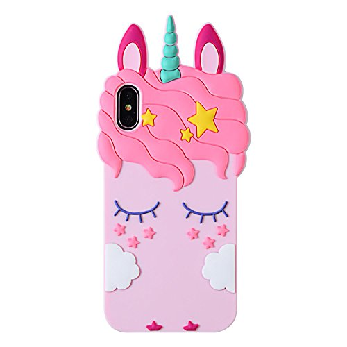 Liangxuer Pink Unicorn Case for iPhone XR 6.1',Soft 3D Silicone Cute Animal Rubber Cover,Kawaii Cartoon Gel Girls Kids Cases.Fun Character Shockproof Protector Skin Shell for iPhoneXR