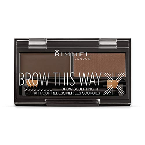 Rimmel London Brow This Way Kit Sopracciglia, Sopracciglia Perfette in 3 Step, Dark Brown, 2.4 g