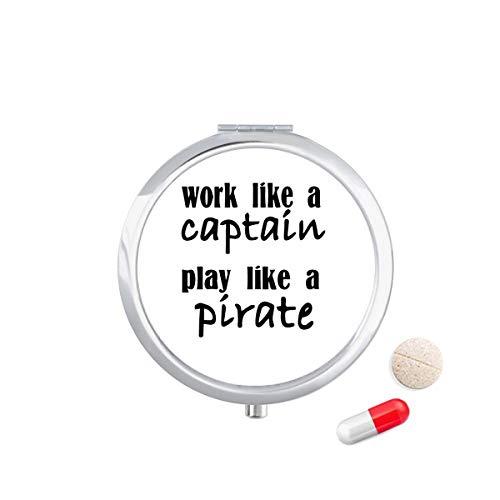DIYthinker werk als kapitein spelen als piraat Travel Pocket Pill Case Medicine Drug Storage Box Dispenser Mirror Gift