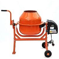 Herramientas Hormigonera 63L 220W batidora eléctrica yeso bañera de mortero de cemento de construcción, con la empuñadura móvil de lado de rueda dos para ajustar el ángulo,Orange