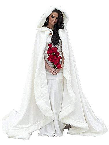 ShineGown Frauen Lange Weisse Hochzeit Wraps Kunstpelz Cape Winter mit Hauben Damen Umhang Fuer Braut Wraps