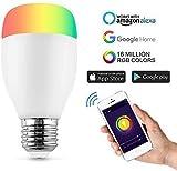 Ampoule Couleur,Horsky Smart Ampoule WIFI Lampe Intelligente Ampoule Multicolore Dimmable Ampoule Télécommande RGB Lampe E27 Telecommande LED Lumiere WIFI Compatible Amazon Elexa Echo Google Home