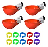 Cruzadel 4 Pack - Chicken Waterer Cups Automatic Refill Poultry Drinker (Non Float and Non Peck Type) Plus 10 Chicken Leg Rings