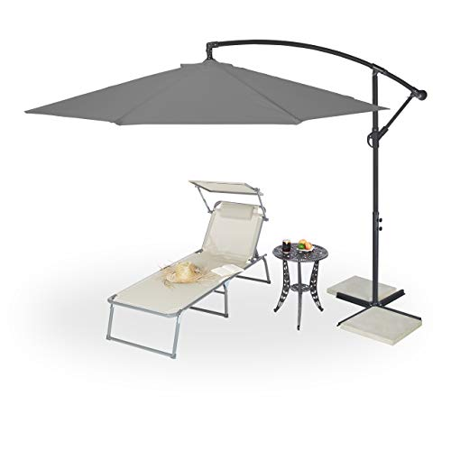 Relaxdays Ampelschirm mit Kurbel, ∅ 300 cm, inkl. Schutzhülle, schwenkbar, stabil, XXL Sonnenschirm mit Ständer, grau