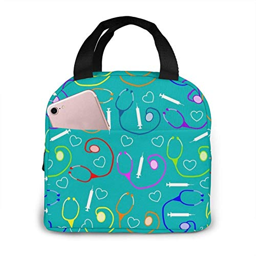 Medical Theme Nurse Lunch Bag for Women Insulated Lunch Box Reusable Cooler Tote Bag for Work Picnic Travel