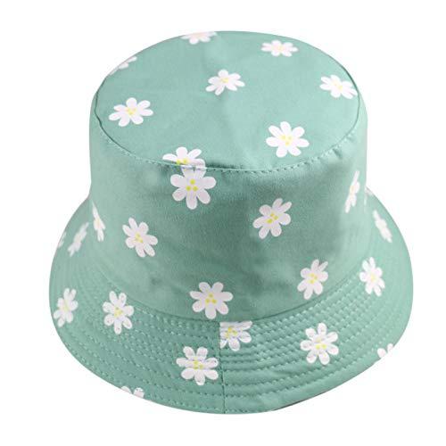 Bucket Hat Chapeau Mode Été Jaune Blanc Marguerite Floral Pêcheur Chapeaux Casquettes De Pêche Femmes Dames Vert