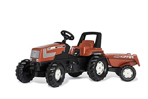 Rolly Toys Trettraktor mit (Überrollbügel, Jahre) rollyFarmtrac-Tractor a Pedales para Fiat Centenario con rollyKipper II (Estribo Enrollable, 3-8 años), Color Rojo (601318)