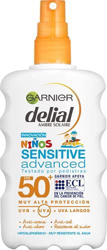 Garnier Delial Ninos Sensitive Spray Protezione Solare SPF 50+, 200 ml (importato da Spagna)
