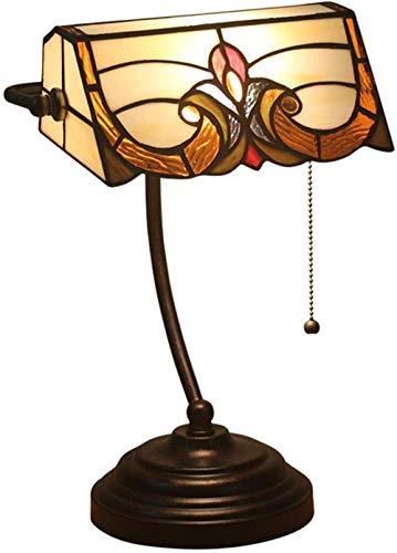 DALUXE Lámparas de Mesa de Mesa de la Vendimia Estilo de Estilo Tiffany Banker Office Lámparas de Mano en Hojas de Vidrio Tintado
