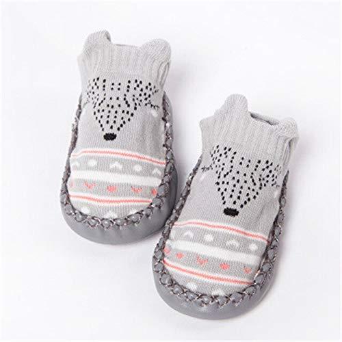 Calcetines de Moda para bebés con Suelas de Goma, Calcetines para bebés recién Nacidos, Otoño Invierno, Calcetines para niños, Zapatos Antideslizantes, Calcetines de Suela Suave-Gray-3-Newborn