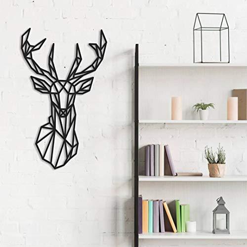 Fotodekora Cabeza de Ciervo Geométrico Escultura de Lineas Negras para Colgar en Pared   Diseño geométrico   Arte de Pared   Animales Origami